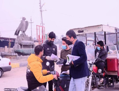 بالصور:حملة تطوعية من الخريجين والكسبة لتعقيم وتعفير المنازل والدوائر الحكومية في قضاء الحسينية شمال كربلاء المقدسة